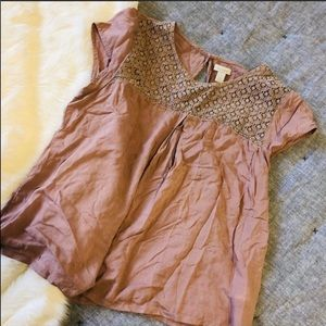Hinge Nordstrom maybe crochet lace yoke blouse S